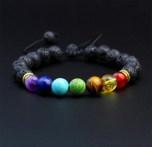 UK SELLER 1pcs Healing Reiki Gem Lava Stone 7 Chakra Bracelets Jewellery Gifts