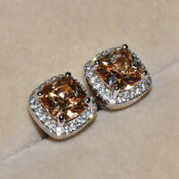925 Silver Princess Cut Champagne Topaz Square Stud Earrings Women Wedding Gifts