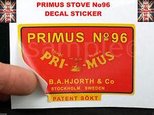PRIMUS STOVE No96 REPLACEMENT DECAL KEROSENE STOVE