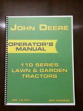 John Deere 110 Series Lawn & Garden Tractor Operators Manual Book Lubrication