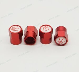 4x Red Aluminum Car Valve Cap Wheel Tire Valve stem Caps  Emblem for Maserati
