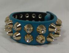 Yik Fung Teal Genuine Leather Clear Rhinestone Studded Gold Tone Spike Bracelet
