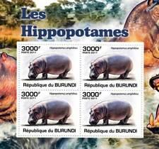 HIPPOPOTAMUS African Common Hippo Stamp Sheet #5 of 5 (2011 Burundi)