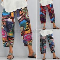 ZANZEA Femme Impression Poches Pur Coton Asymétrique Pantalon Grande Taille