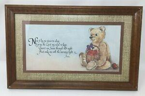 "Teddy Bear Dreams Homco Dallas Woodcraft 1259 AO - I Pray The Lord 16.5"" X 10.5"""