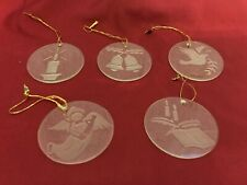 Flat Round Etched Glass Ornaments set of 5 Taiwan