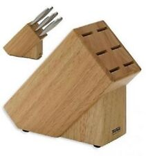 WOODEN KNIFE BLOCK HOLDER THOMAS ROSENTHAL STEAK 6 KNIVES STORAGE RACK STAND 812