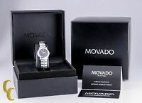 Women's Movado Stainless Steel Museum Watch W/Diamond Bezel Black Dial w/Box