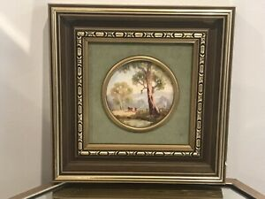 VINTAGE AUSTRALIAN OIL PAINTING  '' FARM SCENE W COWS '' FRAMED SIGNED BY MH