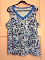 NEW Tank Womens L Lace Shirt Top V-Neck Blue Leaf Cami Sleeveless XL Large $28 *