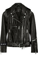 Genuine Soft Lambskin Leather Classic Moto Biker Jacket