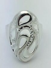 New Women's Sterling Silver Long Oval Free Form Design Ring Size 9, 6.4 grams
