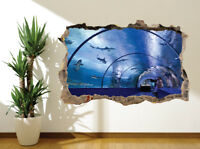Awesome underwater tunnel sharks dolphins wall sticker wall mural (47007889)