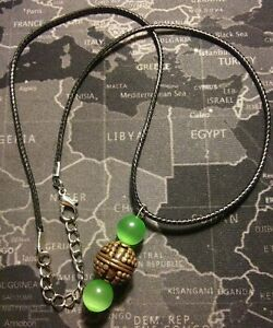 Green Cats Eye 8mm Brass Bronze Black Leather Cord 19in 2in Ext Necklace
