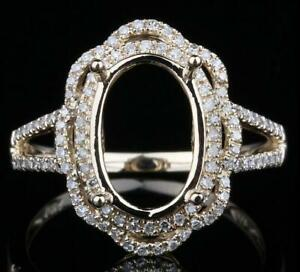Platinum Oval 13×0mm 1.5mm Natural Diamond on Shank Ring Setting Size 7