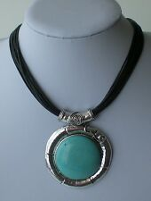 Multi Black Cord Antiqued Silver & Turquoise Abstract Pendant Lagenlook Necklace