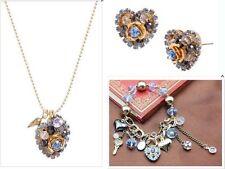 Betsey Johnson Blue line heart multielement pendant necklace bracelet earrings