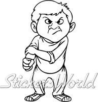FRECH SCHLECHT JUNGE Karikatur wütend jugendlich 200mm Aufkleber - 22 FARBE