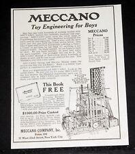 1916 OLD MAGAZINE PRINT AD, MECCANO, TOY ENGINEERING FOR BOYS, NO STUDY NEEDED!