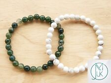 Couple Moss/Howlite Natural Gemstone Bracelet 7-8'' Elasticated Healing Stone
