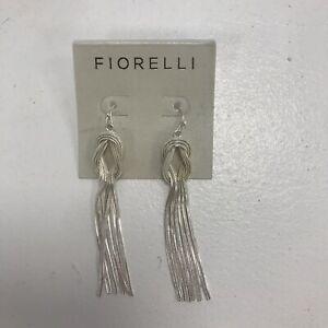 New Fiorelli Earrings Silver Tone Twisted Tassel Drop Dangle Hook Through 111123