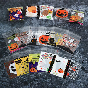 100x Halloween Self Adhesive Plastic Cookie Biscuits Candy Package Gift Bag 10cm