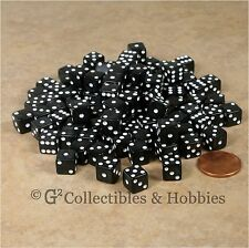 NEW 100 Black 8mm Small Six Sided Dice Set RPG MTG Game Mini Tiny 5/16 inch D6