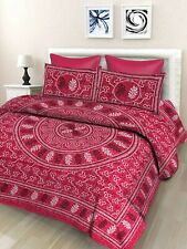 Indian Floral 100% Cotton Double Bedsheet with 2 Pillow Covers, Pink