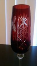 VINTAGE MADE IN POLAND RUBY & CLEAR ETCHED WINE CRYSTAL GLASS