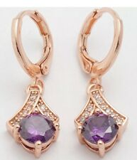 Purple Like Amethyst Diamond Crystal Gold tone Fashion Drop Earrings