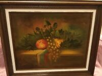 """Vintage Signed Canvas Oil Painting Still Life Fruit on Table Framed 16"""" x 20"""""""