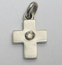 Diamond Cross Pendant 14 carat White Gold SPARKLING Round Cut Solitaire