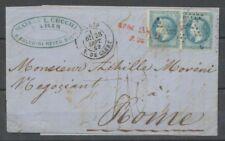 1869 Lettre à 40c 2*N°29 Pour Rome + TAXE manus + AFFR. INSUFF./P24 X1814
