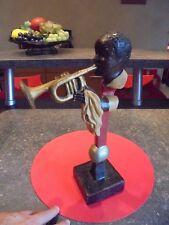 Ancien Musicien de Jazz à la Trompette Jazzman Noir Petite Sculpture en Résine