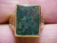Sz 8 1/2 Strong Reds Solid Shoulders 1940's 10K Gold 5.37ct Gen. Bloodstone Ring