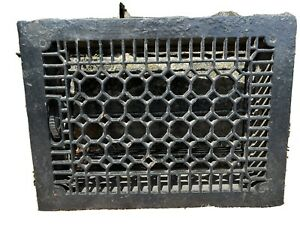 Large Heavy CAST IRON Ornate Louvered Working HEAT Grate Antique Window Vent #20