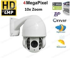 "4"" 10X Zoom IR 60M High Speed PTZ HD IP Dome Security Camera 4MP, PoE/12V Onvif"