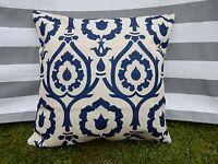 Navy Blue Pattern Cushion Cover, Designer, Rococo, Floral, Modern, Regal