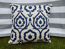 Navy Blue Pattern Cushion Cover, Designer, Rococo, Floral, Modern, Regal