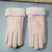 Women Super Warm Winter Genuine Leather Gloves Sheepskin Sheep Fur Lady Mittens