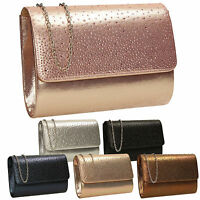 Women Metallic Glitter Shiny Rose Gold Diamante Envelope Party Prom Clutch Bag