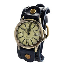 Vintage Mens Womens Steampunk Watches Wide Leather Wristband Bracelet Cuff Hot