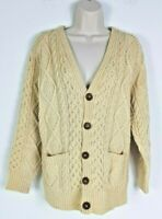 Vintage Inisfree brand Hand-made Knit Ivory Wool Cable Knit Sweater Womens