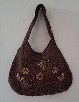 Purse Shoulder bag Brown With Orange Sequins Beaded Unbranded