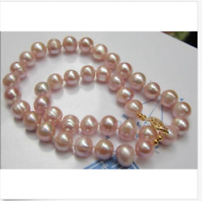 gorgeous 12-13mm baroque  south sea lavender pearl necklace 18inch 14k