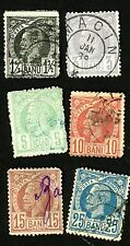 1885-89 Romania Stamps #80, 81 & #83-86 (6 Stamps)  All Used H/HR