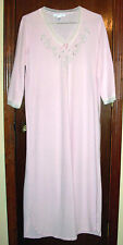 Carole Hochman Light Pink Cotton Pique Nightgown w/Floral Embroidery-Lace Trim-M