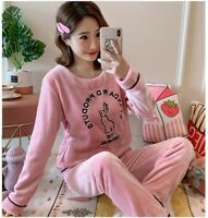 Fleece Pyjamas Ladies Lounge Twosie Women Winter Warm Pajama Christmas Nightwear