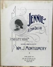 Vintage 1907 Black Americana Sheet Music~Jennie~A Coon Ballad~Wm. J. Montgomery
