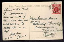 1914 Shanghai BPO Hong Kong Picture Postcard Cover to Austria Women Wheelbarrow
